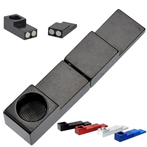 Foxnovo Mini Type Foldable Metal Magnet Cigarette Tobacco Smoking Pipe (Black)