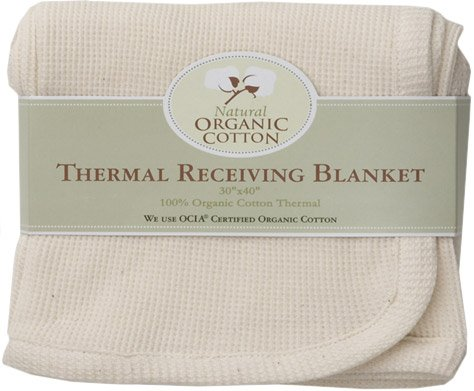 American Baby Company American Baby Company Organic Cotton Thermal Receiving Blanket, White / Cream, Cotton - 1