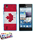 GENUINE Extra-Slim rigid Blue lagoon Case Canada Flag By MUZZANO for HUAWEI ASCEND P2