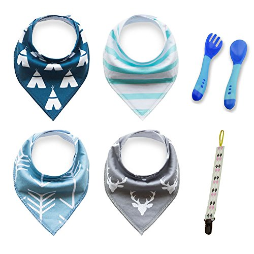 ElectGeek Baby Bandana Drool Bibs with Feeding Spoon Fork and Pacifier Clip, Unisex 4 Pack Gift Set for Boys & Girls, Drooling and Teething, Organic and Absorbent