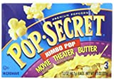 Pop Secret Jumbo Pop Movie Butter, Microwavable Popcorn, 3 -3.2 oz packs, 9.6-Ounce Box, (Pack of 6)