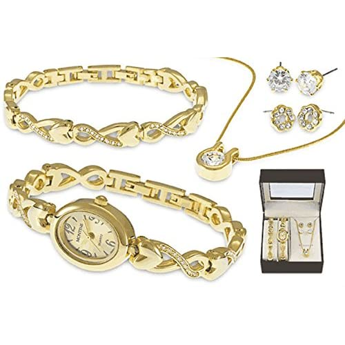 MONTINE GOLD PLATED LADIES JEWELLERY BOX - HEART WATCH & BRACELET, CRYSTAL SET NECKLACE & 2 PAIRS STUD EARRINGS...