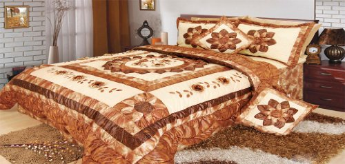 Dada Bedding Bm6134L Sunflower Polyester Patchwork 5-Piece Comforter Set, King, Brown