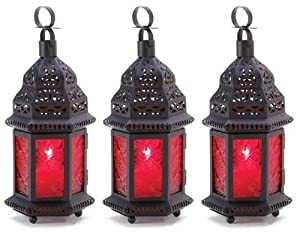 Set of 3 black red moroccan candle holder for Outdoor christmas candles