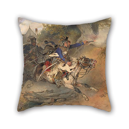 artistdecor-oil-painting-carl-schindler-the-foraging-hussar-1840-pillow-cases-best-for-couchbirthday
