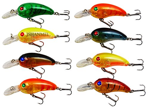JSHANMEI 10pcs Plastic Minnow Fishing Lures Baits Life-like Swimbait Bass Crankbait for Pikes/Bass/Trout /Walleye/Redfish with 3D Fishing Eyes Strong Treble Hooks