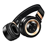 Wireless Headphones, Sound Intone P6 Stereo Bluetooth Headphones with Microphone Over-ear Foldable Portable Music Bass Headsets for Cellphones Laptop Tablet TV Headphones (Black Gold)