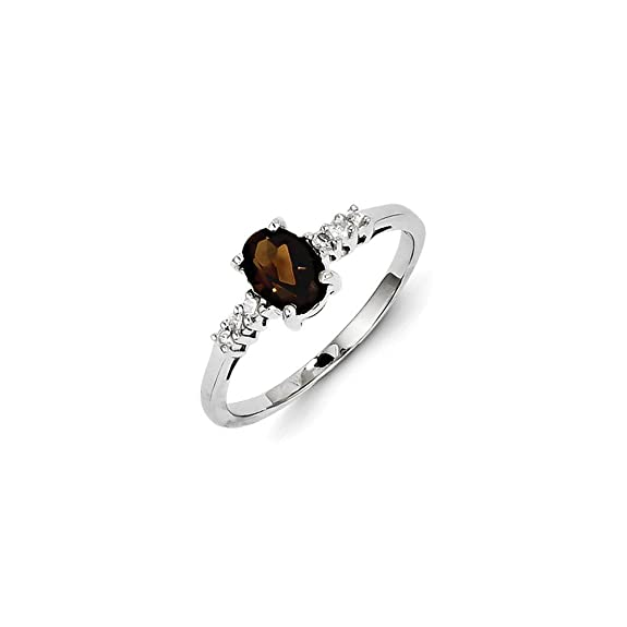Sterling Silver Rhodium Smokey Quartz & Diamond Ring
