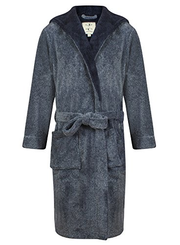 Mens-Hooded-Fleece-Robe-by-John-Christian-Navy-Marl