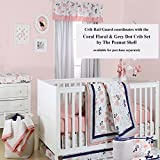 Coral-Pink-and-Navy-Blue-Floral-Print-Padded-Crib-Rail-Guard-by-The-Peanut-Shell