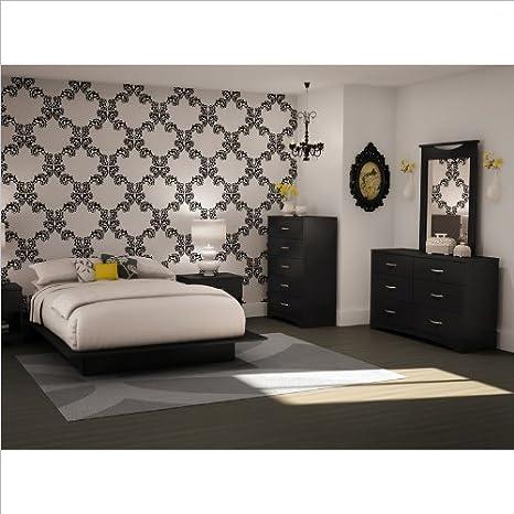 Full/Queen Black Wood Platform Bed 5 Piece Bedroom Set