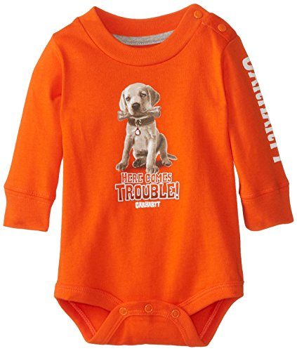 Carhartt Baby-Boys Infant Here Comes Trouble Long Sleeve Bodysuit, Blaze Orange, 24 Months front-787832