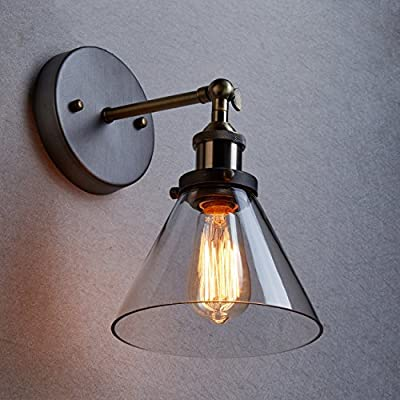 CLAXY Industrial Edison Ceiling Light Vintage Glass Wall Sconce Lighting Fixture
