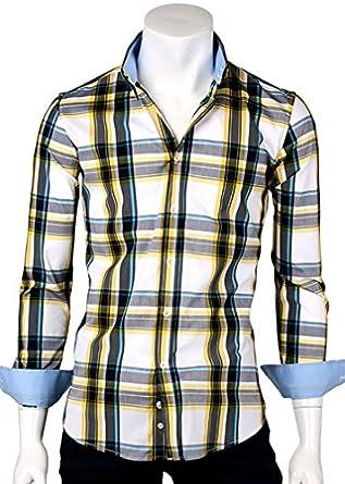 ililily Men's Slim Fit Stretch Patterned Casual Shirt Checkered Basic Shirt Formal Classic Dress Shirt (shirts-011-2-95) Multicoloured