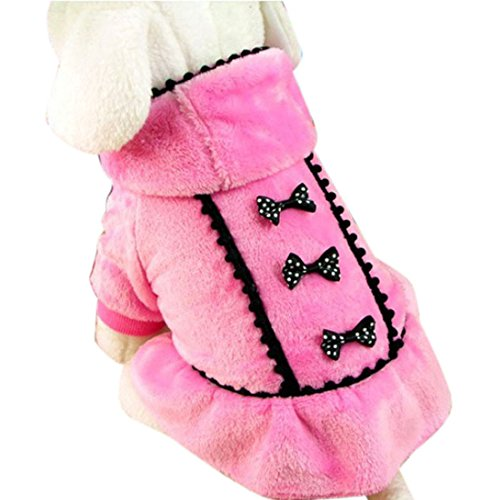 Bessky(TM) Chrismas Sale Cute Pet Dog Puppy Doggy Warm Clothes Bow Knot Dress Coat Apparel (M, Pink)