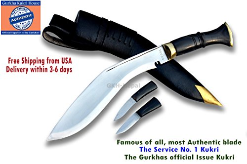 """Gurkha Official Issued - Authentic Kukri Knife - 10"""" Blade Service No.1 Kukri Rat tail tang Highly polished blade with"""