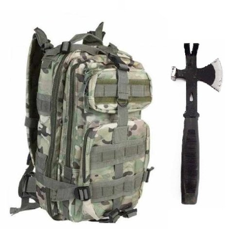 "Ultimate Arms Gear Surviaval Combo: 13"" Tactical 3 In 1 Mulit-Use Emergency Supply Tool Chop Hatchet Axe + Flat Head Hammer + Wrecking Ripping Pry Bar With Rubberized Grip Handle + Taccam Camouflage Compact Level 3 Full Featured Assault Pack Backpack 3 Da front-1057255"