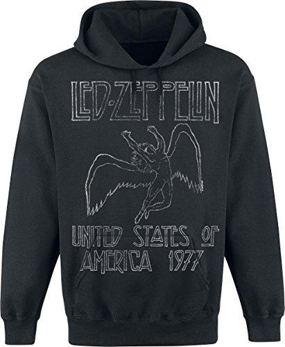 Led Zeppelin USA 1977 Felpa con cappuccio nero S