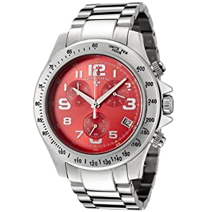 Click to buy Swiss Legend Watches: Mens 50041-55 Eograph Collection Chronograph Red Dial Stainless Steel Watch from Amazon!