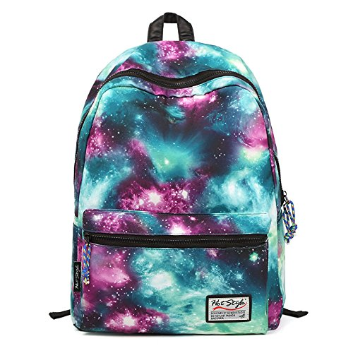HotStyle TrendyMax Galaxy Pattern Vintage Style Unisex Fashion Casual School Travel Laptop Backpack Rucksack Daypack Tablet Bags (green) image
