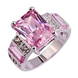 Psiroy Women's 925 Sterling Silver 6cttw Pink Topaz Filled Ring