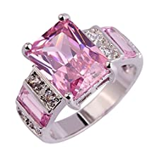 buy Psiroy 925 Sterling Silver Stunning Created Gorgeous Women'S 12Mm*10Mm Emerald Cut Cz Pink Topaz Charms Filled Ring