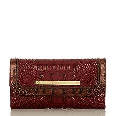 Soft Checkbook Wallet<br>Carmine Red Tri-Texture
