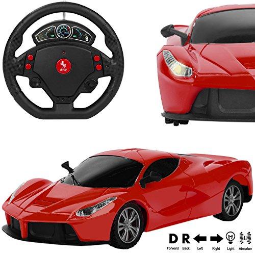 RC Remote Control Fire RED Lamborghini Murcielago Sport Car [1:24 Scale] w/ Motion Steering Wheel Sensor Controller (Go Forward & Backward, Turn Left & Right)