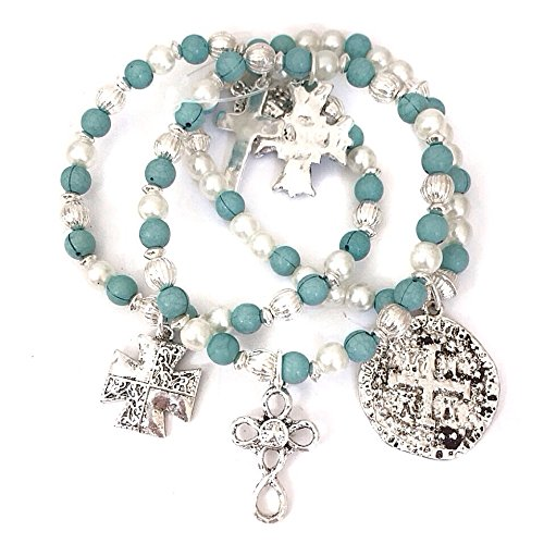Set of 3 Christian Cross Turquoise Silver Tone and Faux Pearls Beaded Stretch Bracelet Catholic Charms
