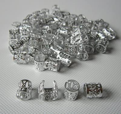 Dread Lock Dreadlocks Braiding Beads Silver Metal Cuffs Hair Accessories Decoration Filigree Tube Silver 8mm 10pcs Pack