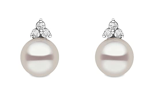 Kimura Pearls 7.0-7.5mm White Semi Round AA Quality Cultured Fresh Water Pearl and Diamond Stud Earrings 9 Carat