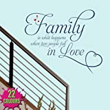 Family Is What Happens 2 - Wall Decal Quote Sticker lounge living room kitchen dining bedroom (Small)