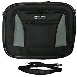 Toshiba Dynabook TX/66A Laptop Case - Carry Handle & Adjustable Shoulder Strap - Black/Gray - Adjustable & Removable Interior Divider
