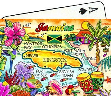 Jamaica Map Collectible Souvenir Playing Cards