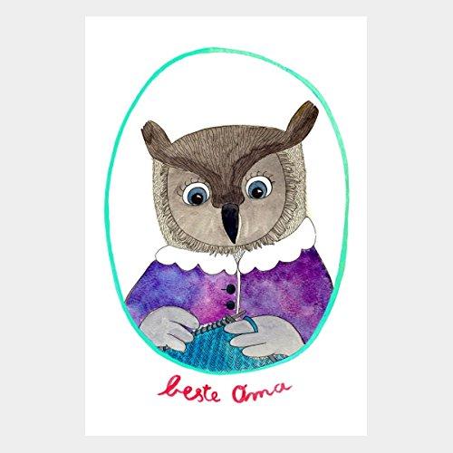 "Postkarte/ Grußkarte ""beste Oma"" (Aquarell-Kunst, Recycling-Papier)"
