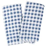 Farberware Blue and White Checkered Popcorn Terry Kitchen Towel, Set of 4