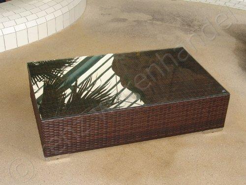 Tisch Polyrattan braun meliert 125x75cm inkl. Glasplatte - Serie Modena