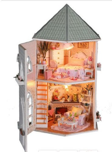 Big Dollhouse Miniature Diy Wood Frame Kit With Light Model Sweet Promise Gift Ldollhouse123-D58