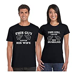 Anniversary Gifts, TYYC Loving Husband and Wife Couple T shirts - Set of 2 for Men and Women, Love Gifts, Wedding Gifts, Romantic Gifts, Couple Gifts