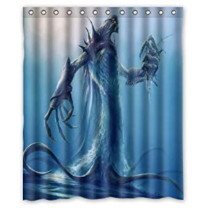 Unique And Generic Weird Deep Sea Creatures Shower Curtain Custom Printed Waterproof
