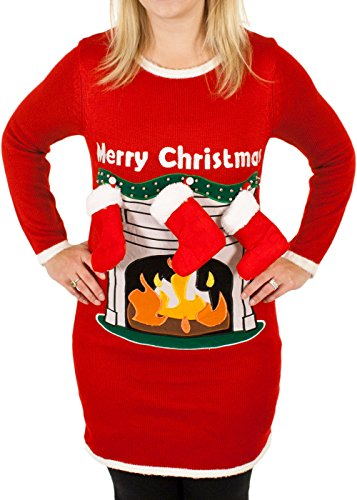 Fireplace Lighted Christmas Sweater with 3-D Stockings i