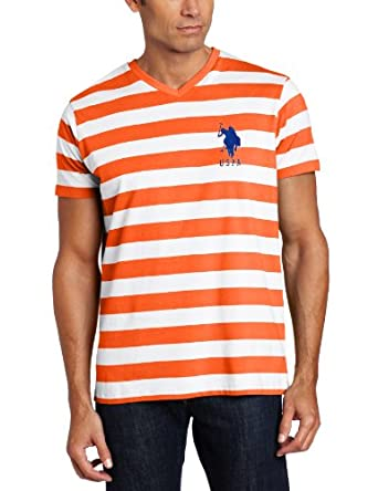 U.S. Polo Assn. Men's Narrow Striped T-Shirt, Orange Popsicle, Medium