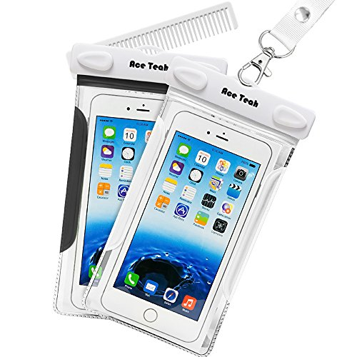 Waterproof Case, 2 Pack Ace Teah Clear Transparent Universal Waterproof Case with comb, Dry Bag, Pouch, Snowproof Dirtproof for iPhone 6 6S, Samsung Galaxy S6, Note 5 3, Nexus 6p 5x - Black, White (Heat Sensitive Iphone Case compare prices)