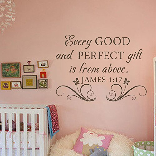 Every Good And Perfect Gift Is From Above James 1:17 Bible Wall Decal Religous Wall Quote Christian Wall Sticker Wall Mural Home Art Decoration Black (Every Good And Perfect Gift compare prices)