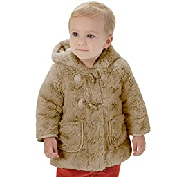 Little Youngster, Long Sleeve Fur Winter Coat for Girls with Hoodie (18M, Camel)