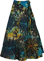 "TLB Roma Bohemian Wrap Around Long Skirt - Black Tie Dye L: 37.5""; Waist: Free Size"