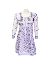 Mannmohini Chikan Women Cotton White Chikankari Regular Fit Kurti (Size : 44)