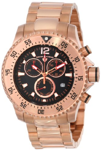 Swiss Legend Men'S 10063-Rg-11 Sergeant Chronograph Black Dial Rose Gold Ion-Plated Stainless Steel Watch