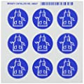 "Brady 58537 Right-To-Know Pictogram Labels , Blue On White,  1-1/2"" Width x 1-1/4"" Height,  Pictogram ""Apron"" (9 Per Card,  1 Card per Package)"