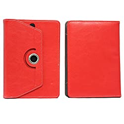 BRAIN FREEZER 7INCH ROTATING FLIP FLAP CASE COVER POUCH CARRY FOR HCL ME V1 TABLET RED